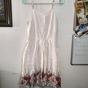Modcloth Moon White Floral Fit and Flare Dress